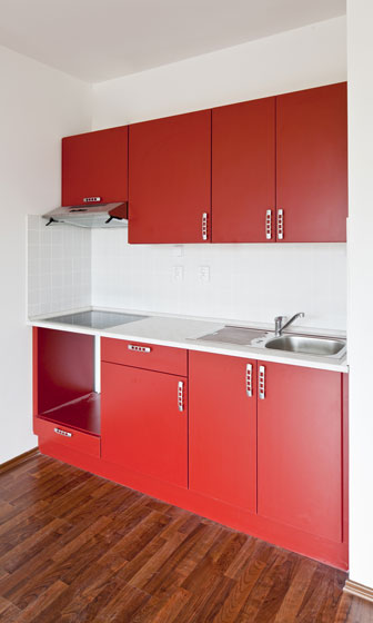 basic kitchen cabinets with red cabinet doors