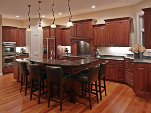 varied kitchen cabinet heights