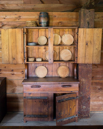 rustic kitchen cabinet used by early american settlers